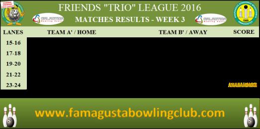 PREMIER Trio League Matches Results - W3