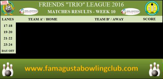 PREMIER Trio League Matches Results - W10